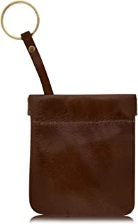 """Genuine Leather Squeeze Coin Purse, Made In U.S.A. For Men/Woman Pouch Size 3.5"""" x 3.5"""" Change Holder"""