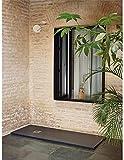 Jardin202 70X140 - Plato de Ducha Textura sillar | Grafito | Desagüe Desplazado