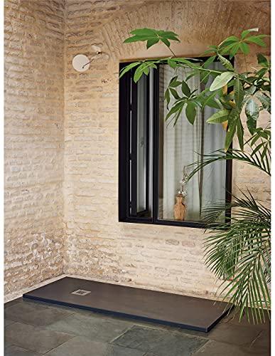 Jardin202 70X180 - Plato de Ducha Textura sillar | Grafito | Desagüe Desplazado