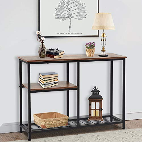 Kinsuite 3-Tier Console Tables for Entryway, Industrial Sofa/Entry Table Bookshelf w/Mesh Storage Shelf Hallway Living Room entryway Accent Furniture, Rustic Brown