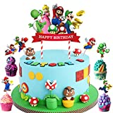 51pcs Super Mario Cake Toppers Super Mario Cupcake Toppers, Super Mario Happy Birthday Party Supplies Cake Decorations for Super Mario fans, Kids Birthday Party
