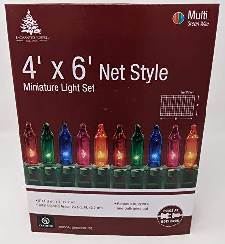 Enchanted Forest 150-Count Multi Color Christmas Lights Net Mesh Light Set/Tree Wrap 4 x 6 Feet