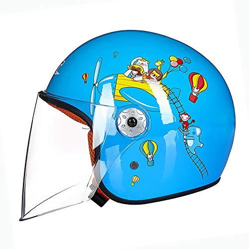 Jethelme Helm für Kinder, Motorradhelm,Kinder Helm Motorrad Harley Batterie Auto Männer und Frauen Baby Schutzhelm S(49-50cm)