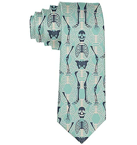 Hombres corbata Esqueleto de Halloween Verde menta Corbatas de poliéster de lujo Traje formal Boda Corbata de baile