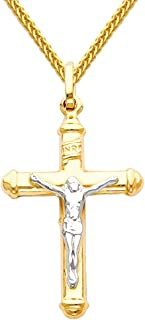 14k Two Tone Gold Jesus Cross Religious Pendant with 1mm Braided Square Wheat Chain Necklace