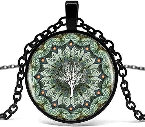 Yaoliangliang Collar para Hombre Flor de eucalipto Planta Mandala Logo Colgante de Vidrio Collar Mandala Imagen de Flor Collar Vintage Collar Femenino.