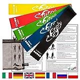 fitfitaly elastici fitness e fisioterapia con pdf per esercizi in italiano - set 5 bande elastiche