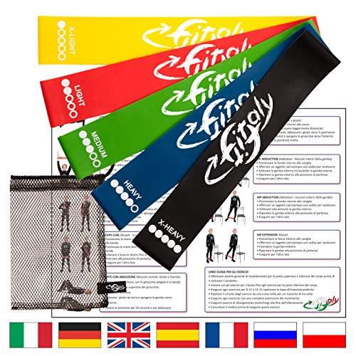 FitFitaly Bandas Elasticas Resistencia - 5 Gomas Fitness, PDF Guía De Ejercicios En Español