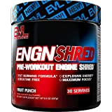 Evlution Nutrition ENGN Shred Pre Workout - Thermogenic Fat Burner Powder, Energy, Weight Loss, 30 Servings (Fruit Punch)