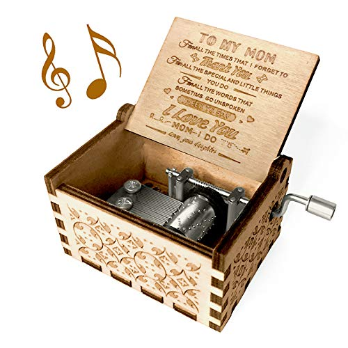 You are My Sunshine Music Box, Gift for Mom from Daughter, Wood Laser Engraved Vintage Music Boxes, Unique Best Gift for Mother's Day, Birthday/Christmas