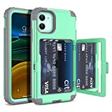 iPhone 11 Wallet Case for Women- WeLoveCase Defender Credit Card Holder Cover with Hidden Mirror Three Layer Shockproof Heavy Duty Protection All-Round Armor Protective Case for iPhone 11 Mint