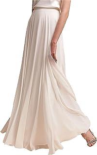EllieHouse P53 Falda de Gasa para Baile de graduación, Longitud hasta el Piso, Cintura Alta, para Dama de Honor