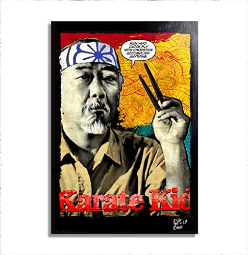 Mister Miyagi (Pat Morita) aus The Karate Kid Film, 1984 - Original gerahmt Fine Art Malerei, Poster, Leinwand, Artwork, Druck, Plakat, Leinwanddruck, Film, Geek, Nerd, pop Art