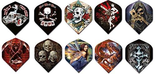 Alchemy Standard Dart Flights 3 Sets Standard Size Different Designs Available - Skulls, Dragons, Girls, Evil, (3 Different Designs)