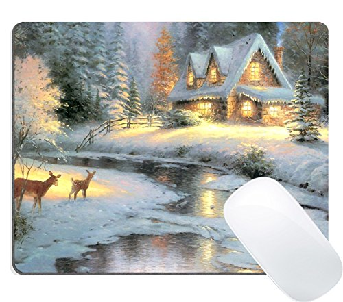 Wknoon Abstract Christmas Deer Creek Cottage Painting Art Mouse Pad