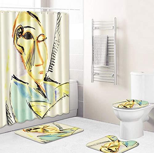GjbCDWGLA Juegos De Cortinas De Ducha Juego De Alfombras De Baño Impermeables Antideslizantes De 4 Piezas Alfombra De Pedestal + Tapa Tapa De Inodoro + Baño (Pintura De Figuras Abstractas)