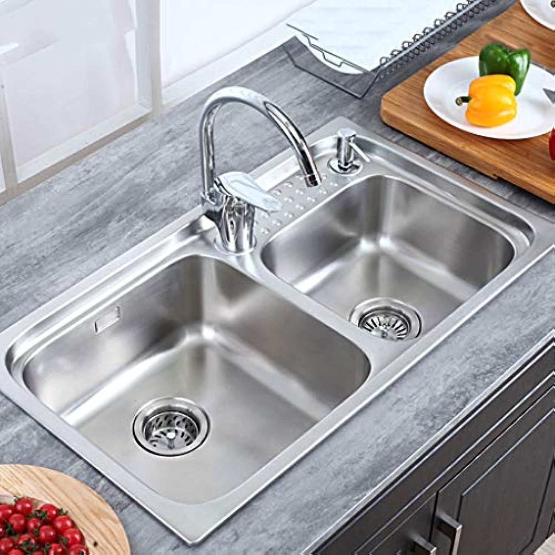 304 Edelstahl Mute Drain Kitchen Sink Double Slot Eingebettet Verdickt Leicht Zu Reinigen Küchenspülen