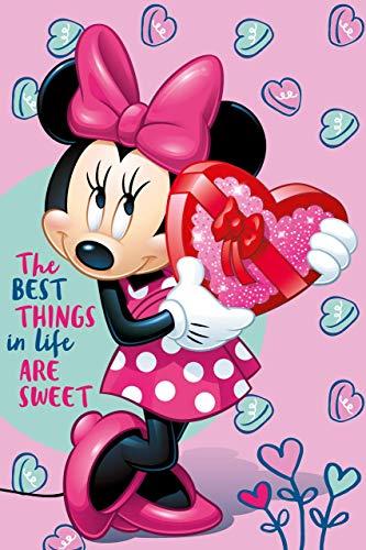 Coperta Disney Minnie Mouse per Ragazze - Coperta Rosa con Minnie Mouse 100 x 150 centimeters - Coperta Disney Bimba per Asilo - Plaid Rosa per Bambine