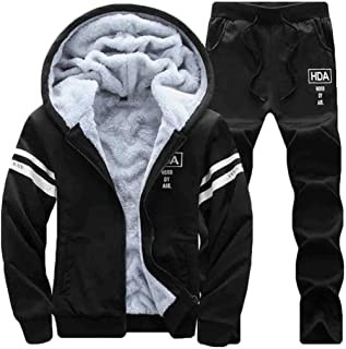Maweisong Men's Warm Velvet Hoodies Sweatshirts and Long Pants Tracksuit