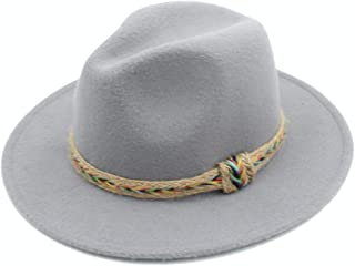 Lei Zhang Men Women Wool Fedora Hat With Belt Dance Party Hat Casual Wild Jazz Hat Panama Church Hat Size 56-58CM