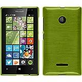 PhoneNatic Case kompatibel mit Microsoft Lumia 435 - pastellgrün Silikon Hülle Brushed + 2 Schutzfolien