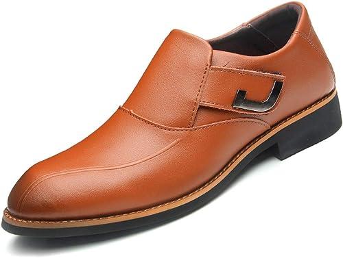 XHD-Men's zapatos Zapaños Oxford de Moda para Hombre Zapaños Formales Estilo de Encaje Cuero de PU Clásico Color Puro Punto Puntiagudo de Negocios Simple
