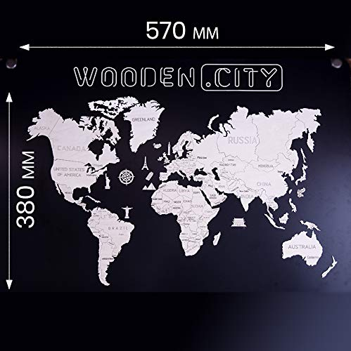 Wooden.City Weltkarte Holz (M) by hölzerne Weltkarte mit gravierten Landesgrenzen 57 х 38 cm | Holz Puzzle