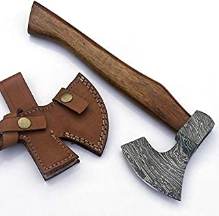 JNR Traders Handmade Damascus Steel Axe Hatchet Tomahawk Knife 11.00 Inches Axe Rose Wood Handle vk2222