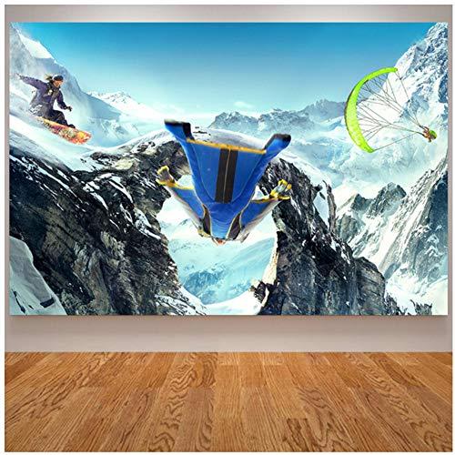 sjkkad Sport canvas schilderij skiën poster en prints snowboarden Snow Mountain Wingsuit vliegende wandafbeeldingen voor de woonkamer -60x90 cm zonder lijst