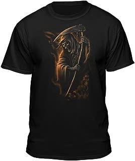 Smoking Grim Reaper Skull Death Scythe Chains Black T-Shirt