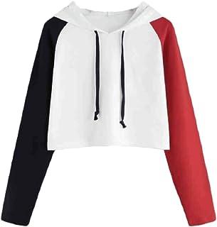 HEFASDM Women's Casual Long-sleeve Spell Color Crop Tops Hoodies Sweater Pullover AS4 XL