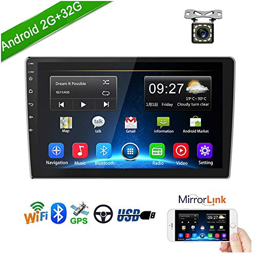 Double Din Car Stereo Android Car Radio with 9 HD 1080P Touch Screen 2G 32G GPS Navigation Head Unit Car MP5 Player Bluetooth WiFi FM Radio Receiver 2 USB Support SWC Mirror Link with Rear View Came