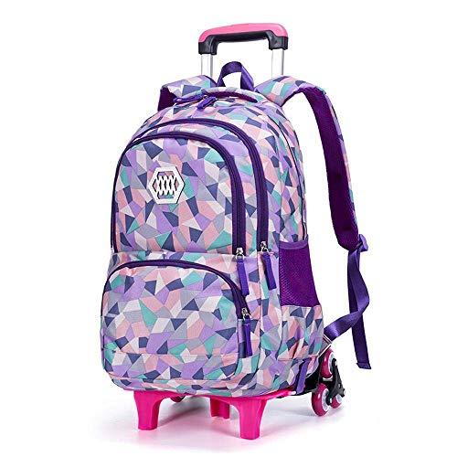 Mochila para niños Mochila para niños Bolsa de Trolley Bolsa de Escuela Mochila rodante con Seis Ruedas Bolsa de Trolley Mochila 5-12 años Jialele (Color : Purple, Size : 6 Wheel)