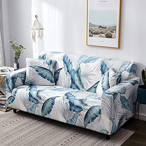 Funda de sofá con diseño de Hoja nórdica, Funda de sofá elástica de algodón, Fundas de sofá universales para Sala de Estar A14, 2 plazas