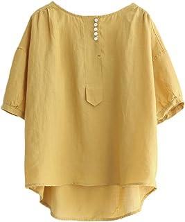 Minibee Women's Hi-Low Tunics Blouse Loose Cotton Linen Shirt for Women Tops