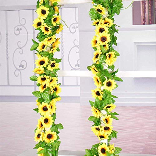BSGP 2 künstliche Sonnenblumen-Girlande aus Seide, Sonnenblumen, Weinrebe, künstliche Blumen mit grünen Blättern, Hochzeit, Tischdekoration, 183 cm lang