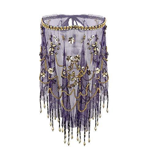 Freebily Damen Bauchtanz Gesichtsschleier mit Perlen Quasten Mesh Durchsichtig Bauchtanz Kostüm Zubehör Tanzkleidung Violett One Size