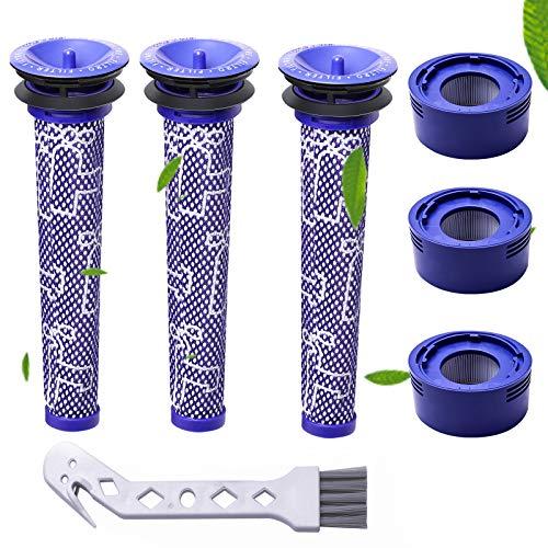 Filtre pour Dyson,filtres de Rechange pour aspirateur Dyson V7 et V8 Absolute et Animal, 3 Post-filtres HEPA, 3 pré-filtres, pièce de Rechange(V7V8)