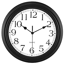 Foxtop 12 inch Silent Non-Ticking Round Classic Clock Retro Quartz Decorative Battery Operated Wall Clock for Living Room Kitchen Home Office (Black)