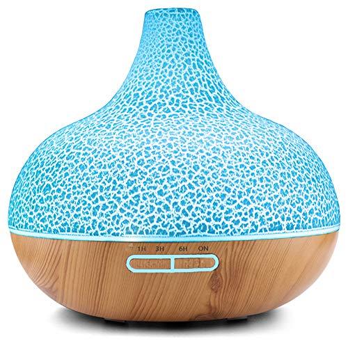 YunNasi Duftöldiffusoren 400ml Aroma Diffuser mit kühlem Nebel Aromatherapie Luftbefeuchter mit 7 Farben LED Wasserloser Auto-Off für Yoga Meditation Schlaf SPA Schlafzimmer (Riss Holzmaserung)
