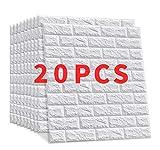 20 Pieces Papel Pintado Imitación Ladrillo Win-Y Diseño 3D Fondo de Pantalla de PVC Decoración de Ladrillo Sala de Oficina Hotel Restaurant (23.6'x11.8')