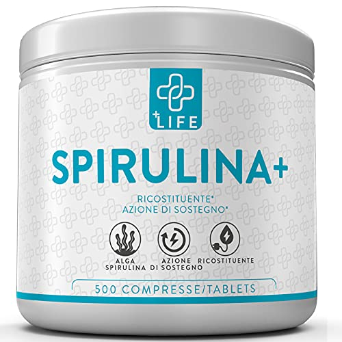 Alga Spirulina Fit Compresse Essiccate a Freddo PiuLife  500 Compresse da 500mg Polvere di Spirulina Ricca di Clorofilla, Proteina, Aminoacidi Essenziali e Vitamine  Spirulina Fit Dimagrante Forte