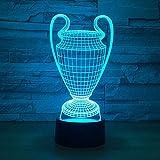Lámpara de trofeo de la Copa de fútbol 3D 7 colores que cambian 3D Luz de noche LED Botón táctil USB Baby Bedroom Sleep Luminaria Light