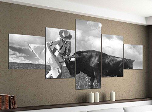 Leinwandbild 5 tlg. 200cmx100cm Matador Kuhkampf Sport Kuh Stier spanisch schwarz weiß Bilder Druck auf Leinwand Bild Kunstdruck mehrteilig Holz 9YA2026, 5Tlg 200x100cm:5Tlg 200x100cm