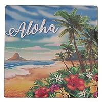 ハワイアン雑貨/ハワイ雑貨/インテリア サンドストーンコースター 吸水コースター セラミック マリン雑貨 (3.アロハ)