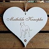 Schild Herz « Dogo Argentino » mit persönlicher Wunschgravur - Deko Dekoration Türschild Name - Hund Hunde Haustiere - argentinische Dogge