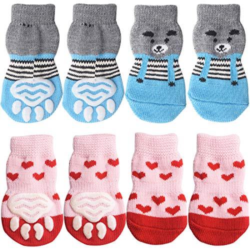 Rutschfeste Hundesocken - YUESEN Indoor Anti-Rutsch Socken für Hunde und Katzen für den Innenbereich, Traktionskontrolle, Pfotenschutz-Schuhe für kleine Hunde, Welpen, Katzen, 4 Stück