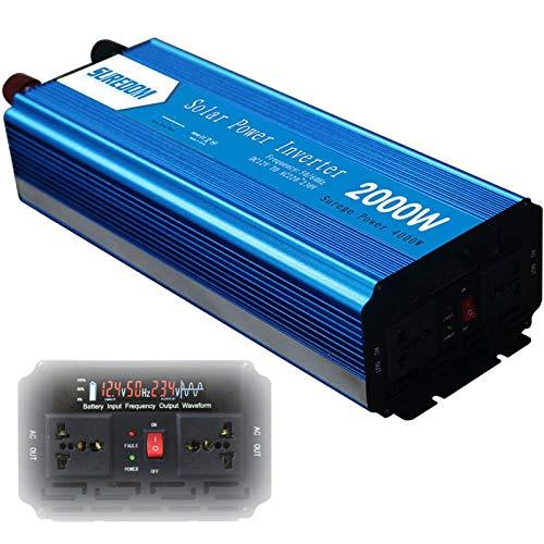 QTCD 2000 Watt Power Inverter Dual AC Outlets 12V DC to 110V/240V AC Modified Sine Wave Inverter 12V DC to AC Power, 4000W Surge Peak Power,Power Charger Inverter with Battery Clips,12Vto230V