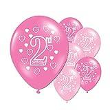 10 Stücke Luftballons Latex Ballons Baby 2 Jahre alt alles Gute zum Geburtstag Bedruckte Latex Ballons für Jungen und Mädchen Geburtstagsfeier Party Dekoration