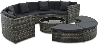 vidaXL Garten Sofa 7-TLG. Poly Rattan Grau Gartenmöbel Lounge Sitzgruppe